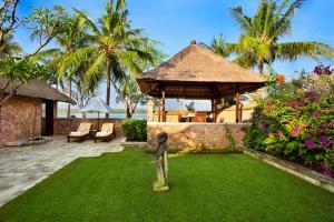 A garden outside The Oberoi Beach Resort, Lombok
