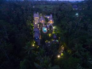 A bird's-eye view of The Kayon Resort by Pramana