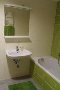 A bathroom at Velence Wellness Apartman