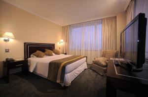 Cama o camas de una habitación en Hotel El Araucano