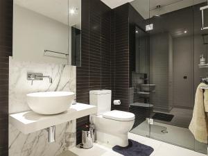 A bathroom at Mono Two on Flinders Street