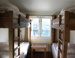 A bunk bed or bunk beds in a room at Lofoten Værøy Brygge