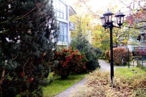 A garden outside Apartments in Dresden am Elbufer