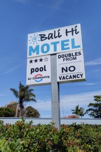 A certificate, award, sign, or other document on display at Bali Hi Motel