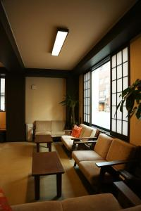 A seating area at Space Hostel Tokyo