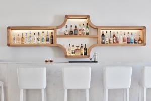 The lounge or bar area at Santorini Palace