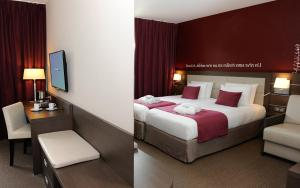 A bed or beds in a room at Mercure Bayeux Omaha Beach