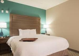A bed or beds in a room at Hampton Inn Greenville/I-385 Haywood Mall, SC