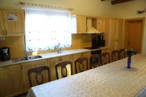 A kitchen or kitchenette at Pensiunea Moara Lu Antone