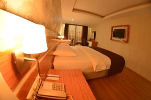 Кровать или кровати в номере Bayazıt Hotel