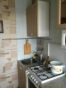 A kitchen or kitchenette at Apartment On Oktyabrskaya 34