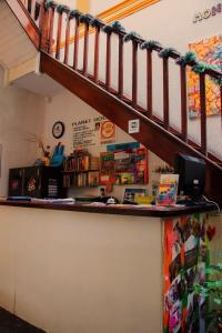 The lobby or reception area at Planet Montevideo Hostel