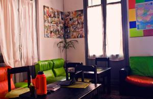 A seating area at Planet Montevideo Hostel