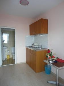 A kitchen or kitchenette at Galini Sea Apartments