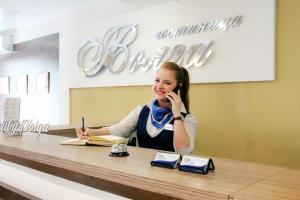The lobby or reception area at Hotel Volga