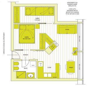 The floor plan of Nido nelle Dolomiti Apartment