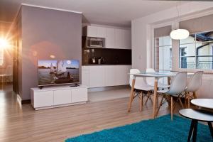 Telewizja i/lub zestaw kina domowego w obiekcie Haller House Apartamenty