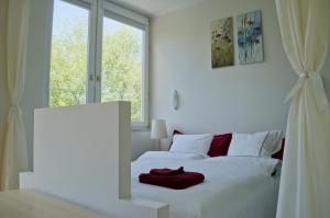 Łóżko lub łóżka w pokoju w obiekcie City Center - Saxon Garden Niecala Apartament
