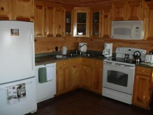 A kitchen or kitchenette at Cabins on the Bluff