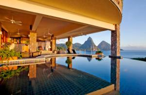 The swimming pool at or close to Jade Mountain