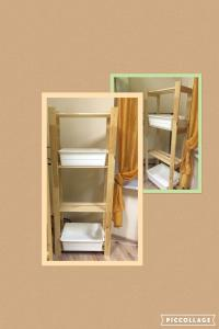A bunk bed or bunk beds in a room at Druzya