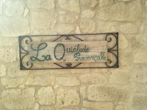 A certificate, award, sign, or other document on display at La quiétude Provencale