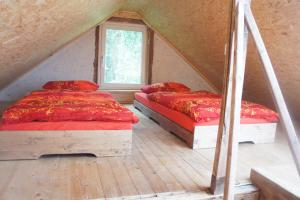 A bed or beds in a room at Ferienhaus Bonn