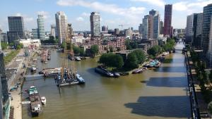 A general view of Rotterdam or a view of the city taken from the apartment