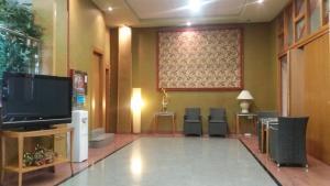 Una televisión o centro de entretenimiento en Hotel Pio XII Jumilla
