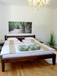 Ein Bett oder Betten in einem Zimmer der Unterkunft Ferienhaus Sonnenhorst