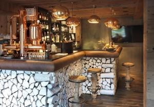 The lounge or bar area at M de Megève