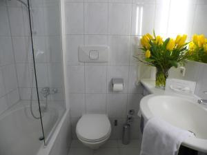 A bathroom at Hotel Alpinpark