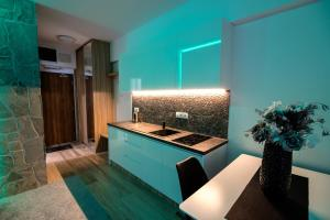A kitchen or kitchenette at Apartment Luna Hrebienok