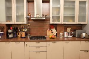 Кухня или мини-кухня в Apartments on Krasnogvardeyskaya