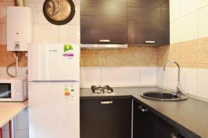 """Кухня или мини-кухня в Apartment on Lermontova """"Red"""""""