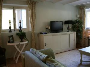 A television and/or entertainment center at Spacious Villa in Drome with Swimming Pool