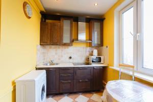 A kitchen or kitchenette at Economy Brusnika Apartments Serpukhovskaya