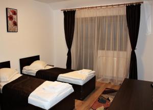 Un pat sau paturi într-o cameră la Hanul Lui Bogdan
