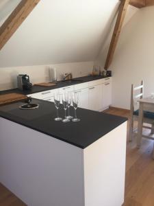 Küche/Küchenzeile in der Unterkunft Ferienwohnung Burg Murten