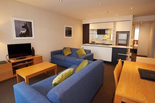 A seating area at Amity Apartment Hotels