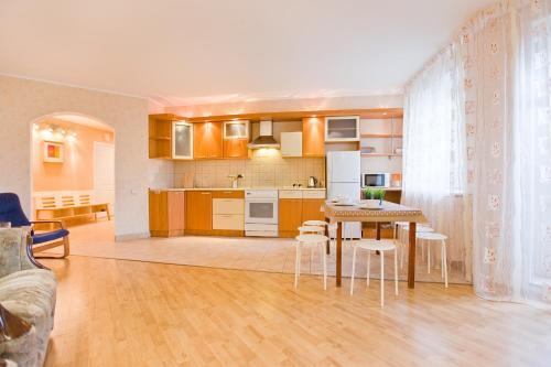 Кухня или мини-кухня в Big Family Apartment in SPb