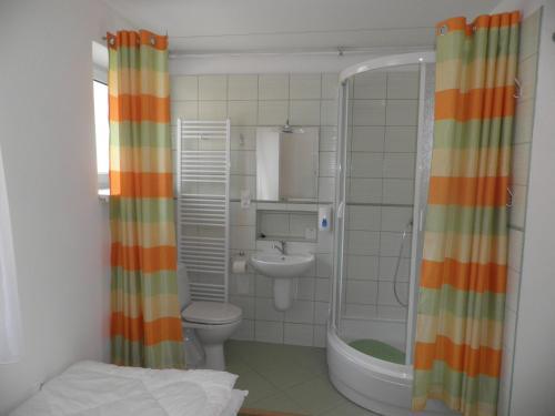 Koupelna v ubytování Dom v Záhrade