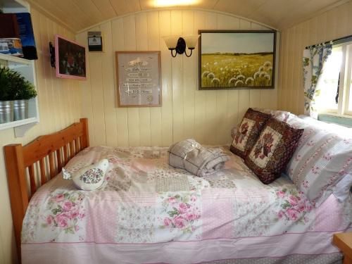 A seating area at The Buteland Stop Rosie Shepherds Hut