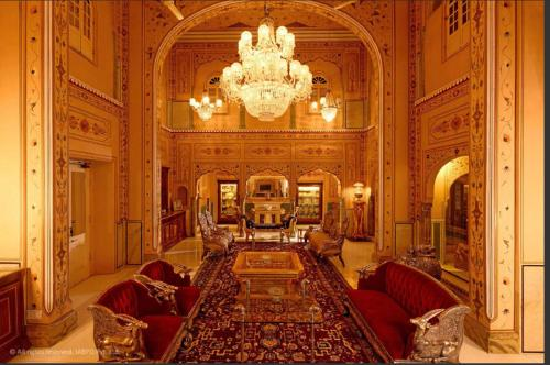 A seating area at The Raj Palace (Small Luxury Hotels of the World)