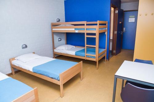 Een stapelbed of stapelbedden in een kamer bij Hostel Blauwput Leuven