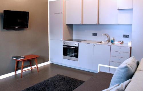 A kitchen or kitchenette at Grettir Apartments