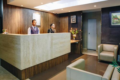 The lobby or reception area at Aristus Hotel