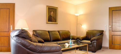 Ein Sitzbereich in der Unterkunft Seehotel Schwanenhof