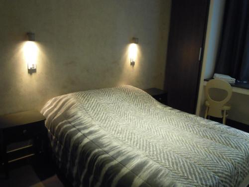 A bed or beds in a room at HOTEL DE LA POMME D'OR