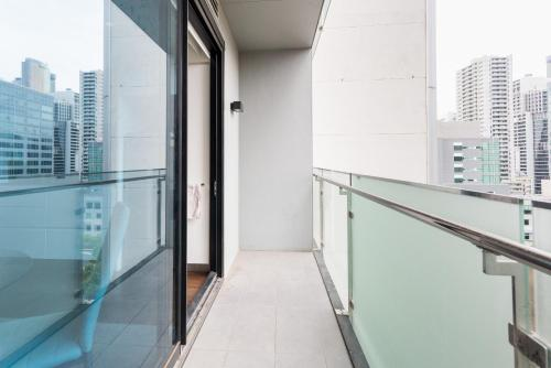 A balcony or terrace at Relax in Luxury & Modern MELB 1BD